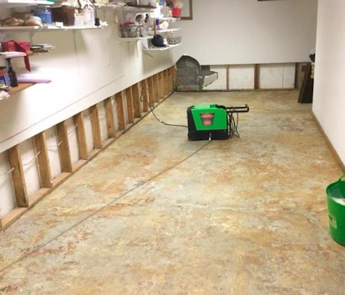 flooring and mitigation complete after sump pump failure