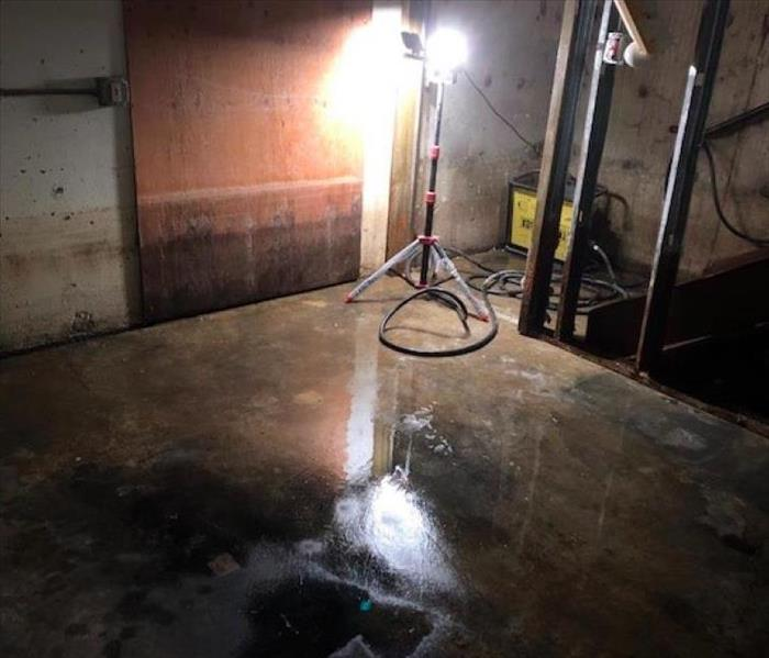 water on concrete floor