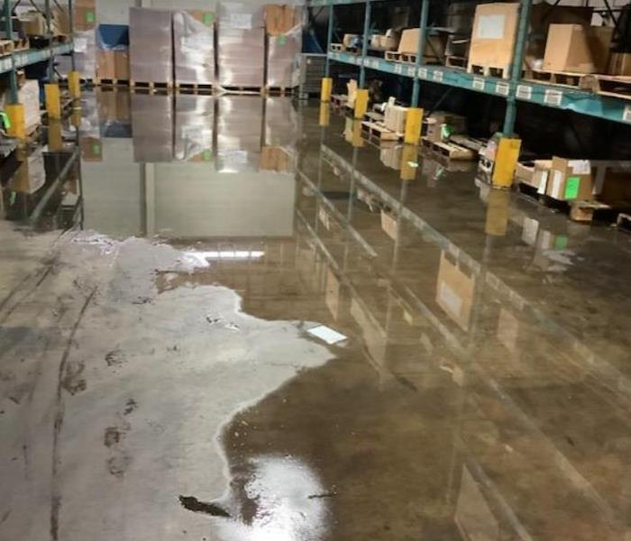 water on warehouse floor