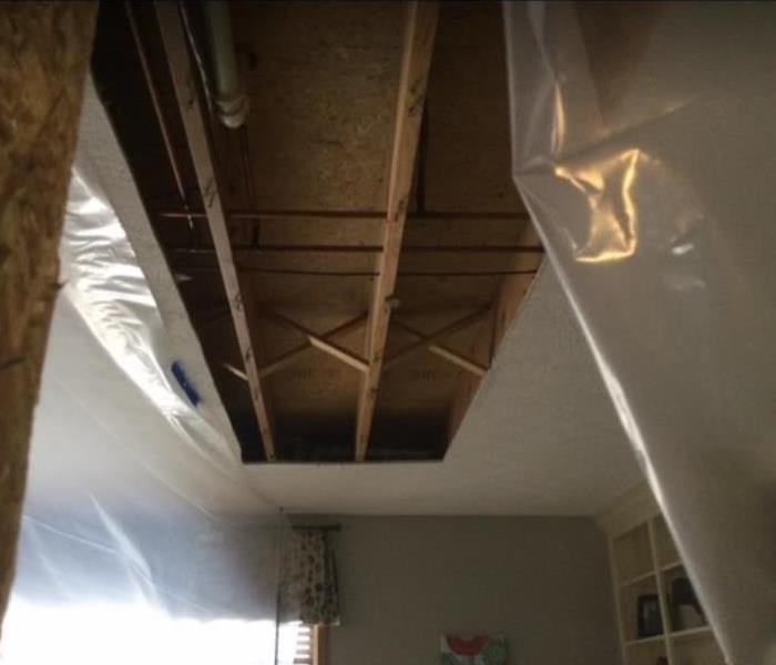 affected water damaged ceiling removed