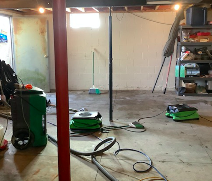 water removed and equipment set after water damage