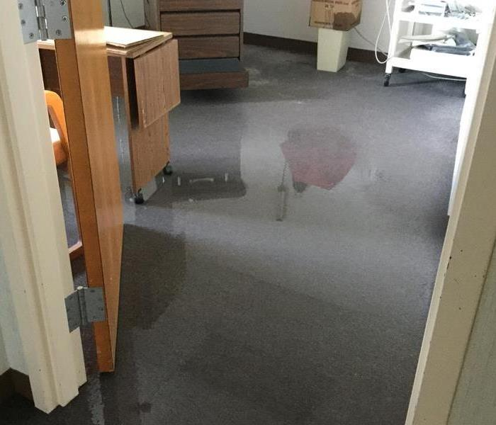 water damage on carpet of commercial building