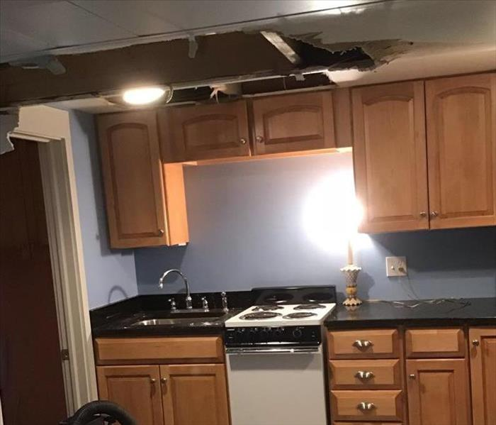 ceiling collapsed with water