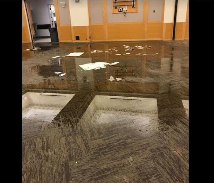 standing water on carpet of commercial building